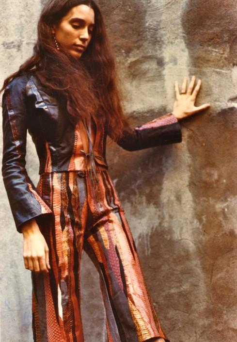 Jane Startz models a snakeskin suit, New York, 1970