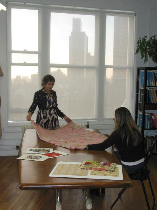 Andrea Aranow at the Textile Documents studio in New York, 2005