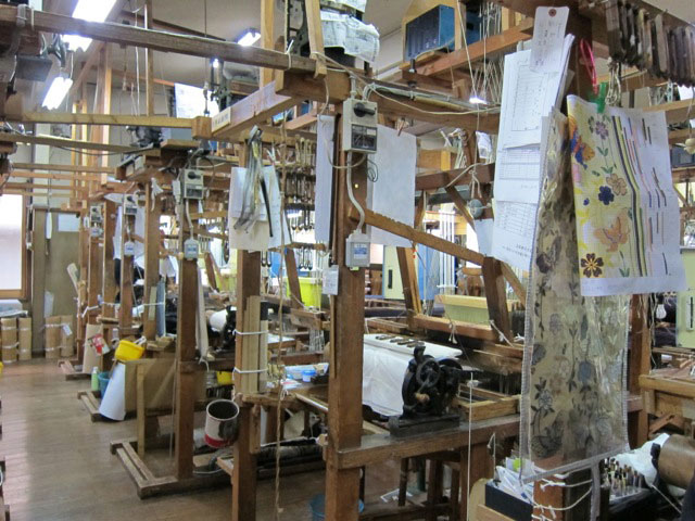 Shop floor of Nishijin Weavers Co-op, Kyoto, 2012