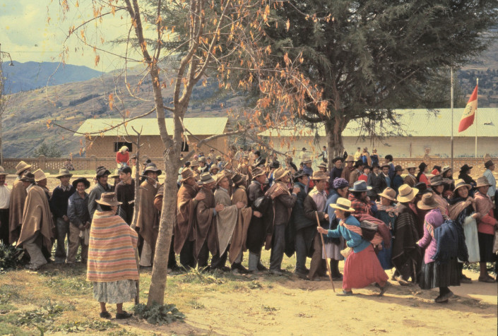 Queuing to vote for President, , village in Huanuco, 1980